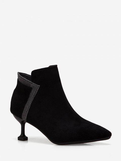 Strange Heel Pointed Toe Patch Ankle Boots - BLACK EU 35