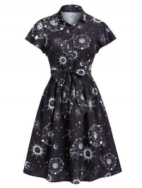 Sun Moon and Star Print Belted Button Dress - WHITE L