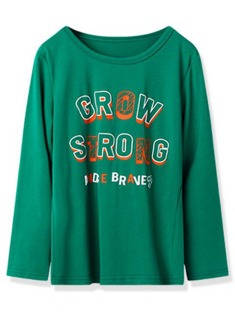 Kids Grow Strong Graphic Casual Tee - JUNGLE GREEN 110