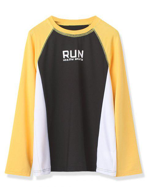 Boys Run Graphic Color Block Crew Neck Tee - MUSTARD 110