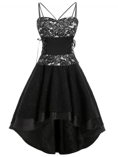 Lace-up High Low Lace Overlay Party Dress - BLACK 3XL