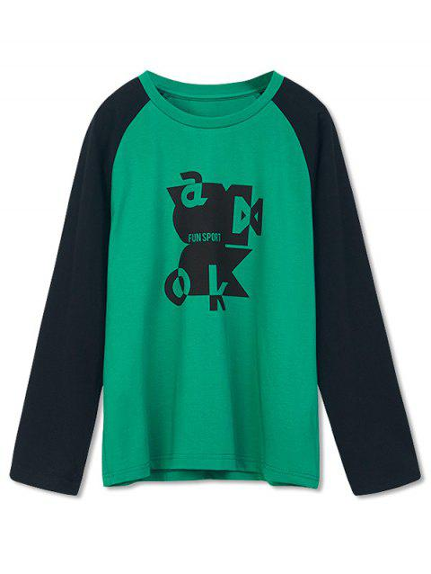 Boys Abstract Graphic Two Tone Raglan Sleeve T Shirt - MEDIUM FOREST GREEN 110