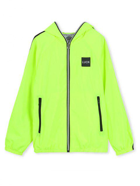 Hooded Luck Applique Contrast Tape Zip Up Jacket - EMERALD GREEN 150