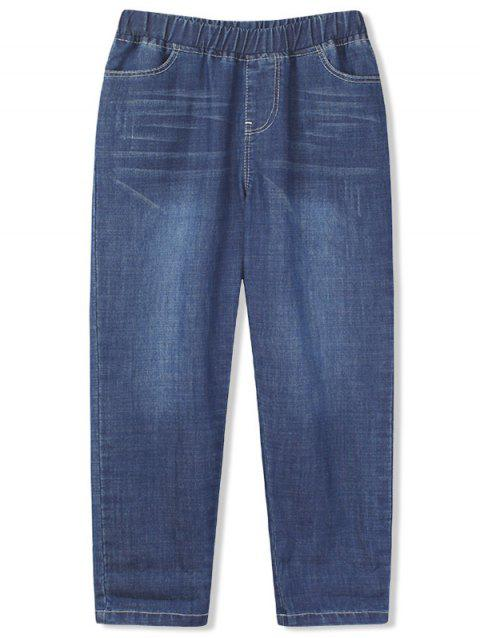 Girls Scratch Rolled Hem Straight Jeans - BLUEBERRY BLUE 110