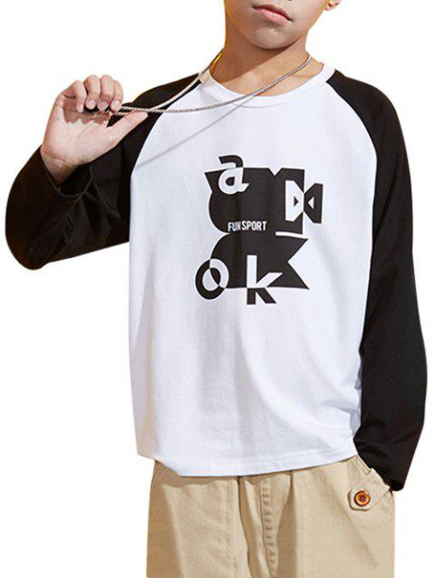 Boys Abstract Graphic Two Tone Raglan Sleeve T Shirt - WHITE 150