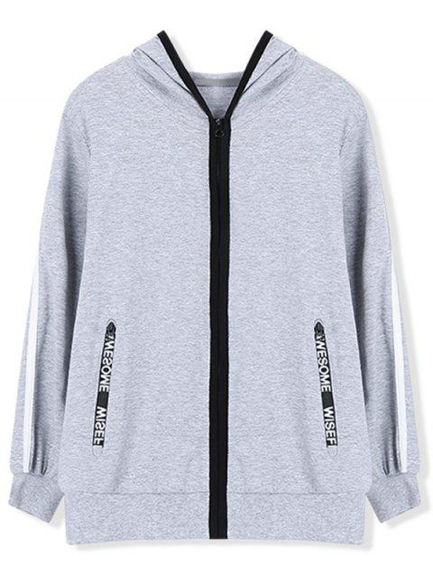 Casual Hoodie with Zip Pocket - GRAY 110