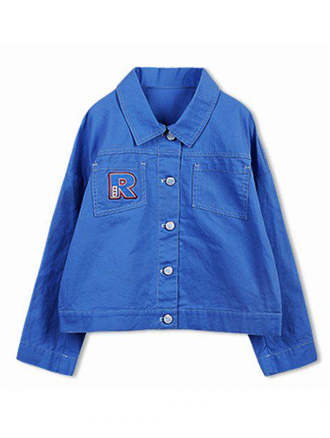 Letter Embroidery Button Fly Jacket - OCEAN BLUE 110