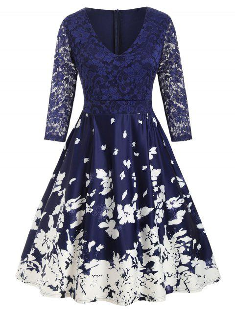 Plus Size Floral Print Lace Insert Dress