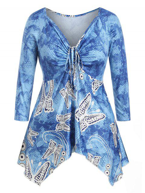 Plus Size Handkerchief Cinched Butterfly Print T-shirt
