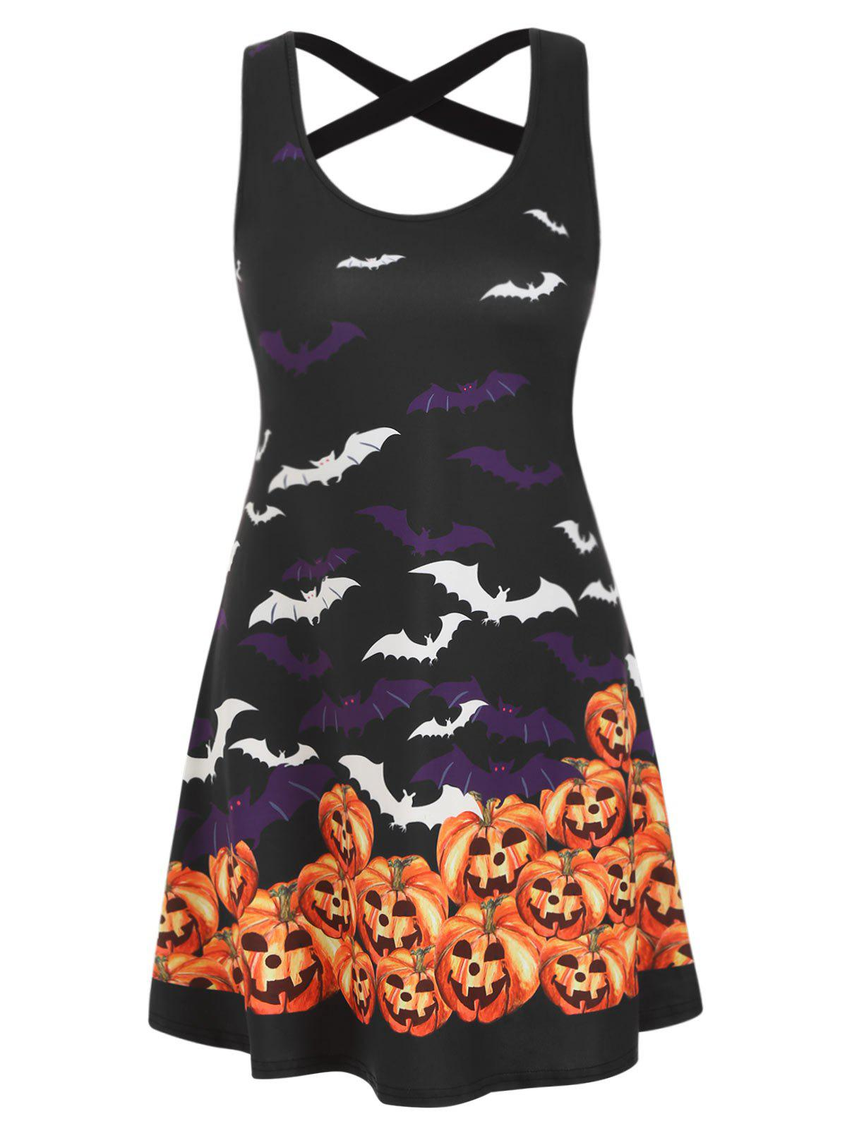 Halloween Pumpkin Bat Print Criss Cross Dress - multicolor 2XL