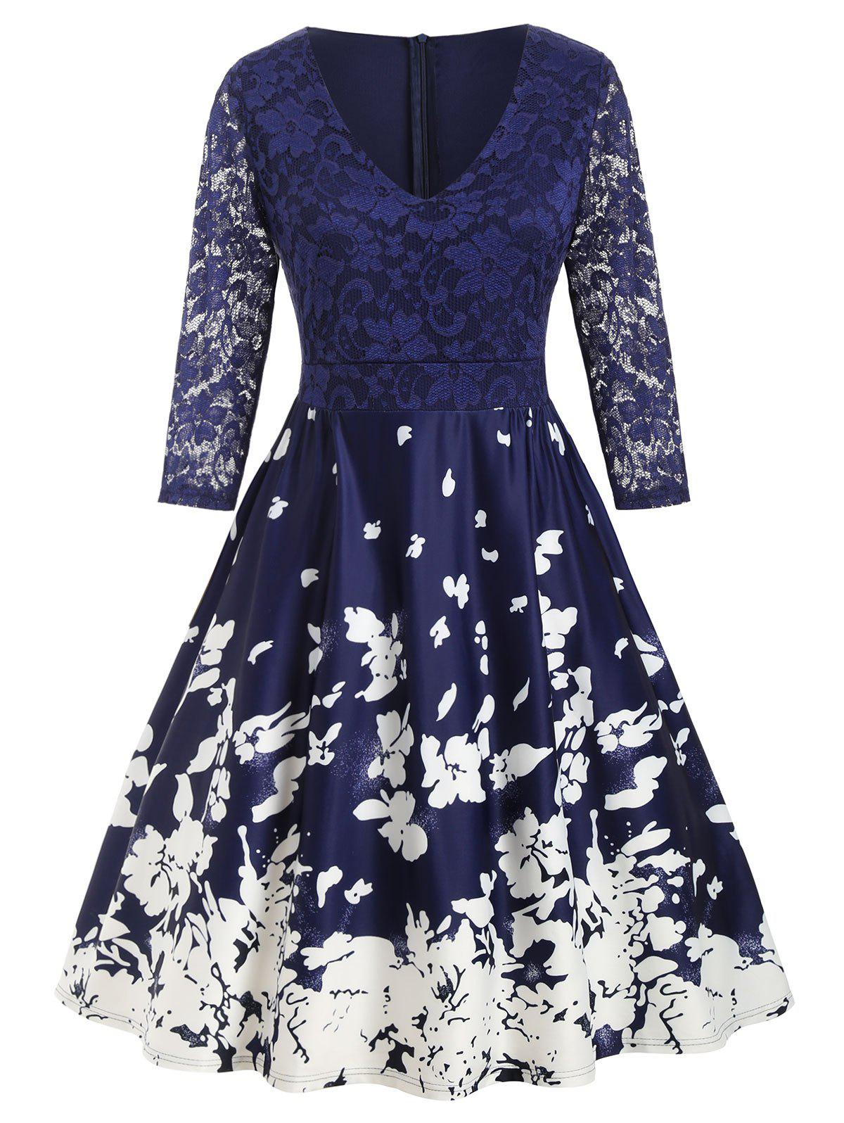 Plus Size Floral Print Lace Insert Dress - DENIM DARK BLUE L