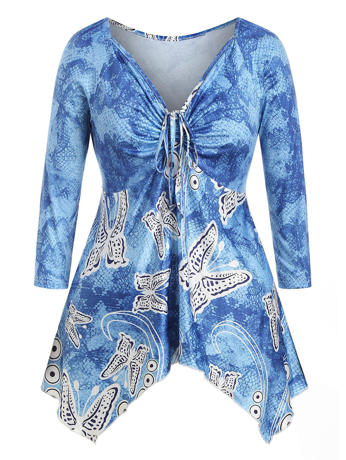Plus Size Handkerchief Cinched Butterfly Print T-shirt - OCEAN BLUE 4X