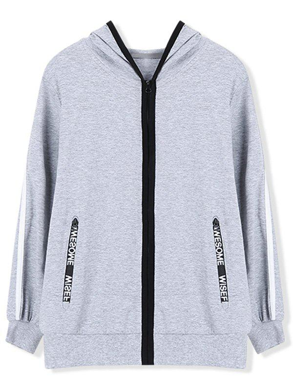 Casual Hoodie with Zip Pocket - GRAY 150