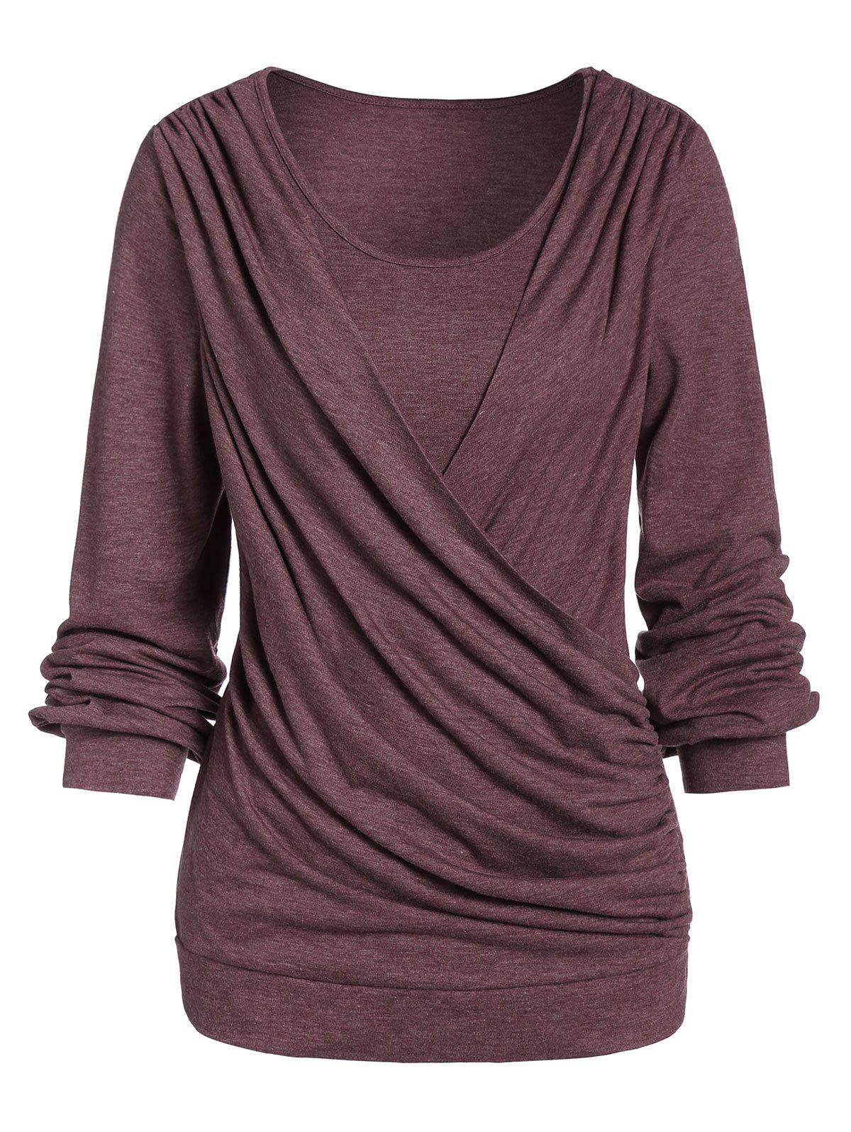 Long Sleeve Round Collar Marled T Shirt - DEEP COFFEE XL