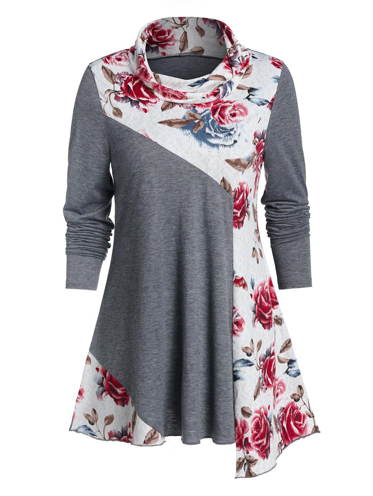 Asymmetric Flower Print Cowl Neck Long Sleeve Tee - multicolor A XL