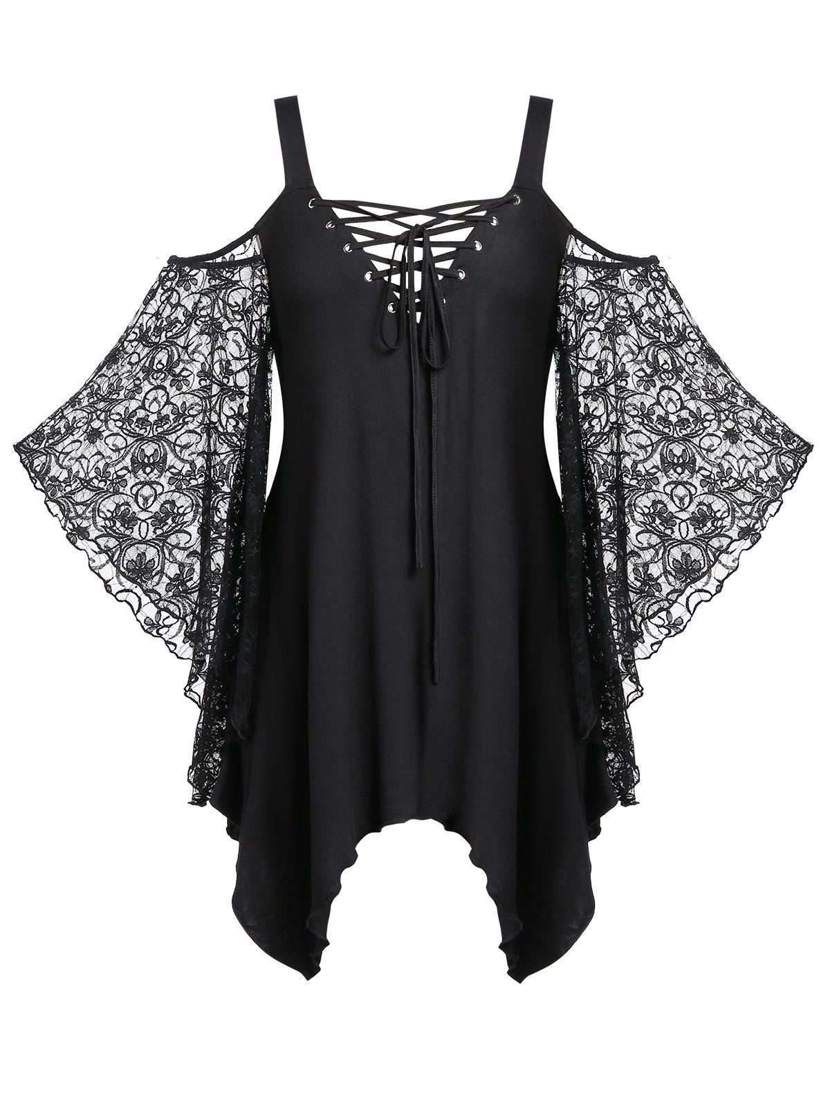 Plus Size Lace Up Sheer Asymmetrical Tunic Tee - BLACK 4X