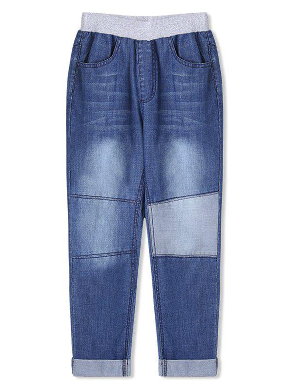 Boys Patch Rolled Hem Elastic Waist Jeans - BLUE 110