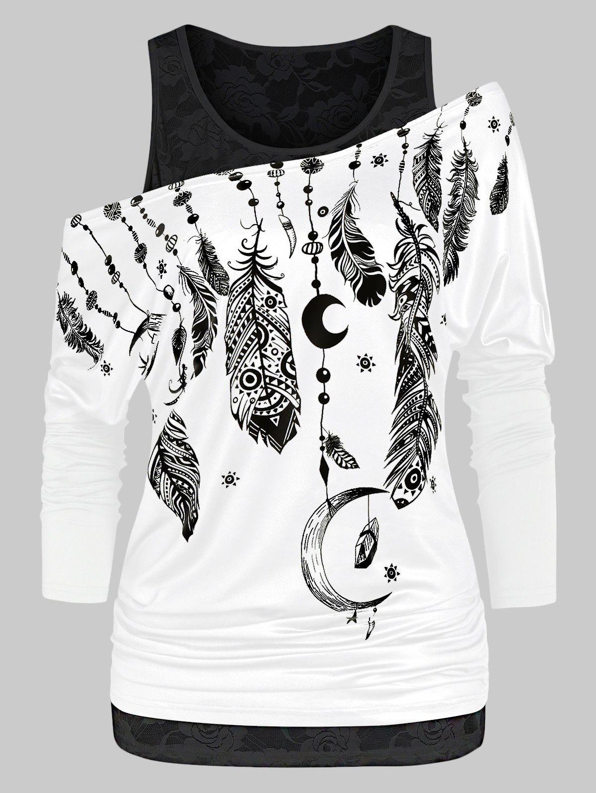 Printed Skew Collar T Shirt with Lace Tank Top - MILK WHITE 3XL