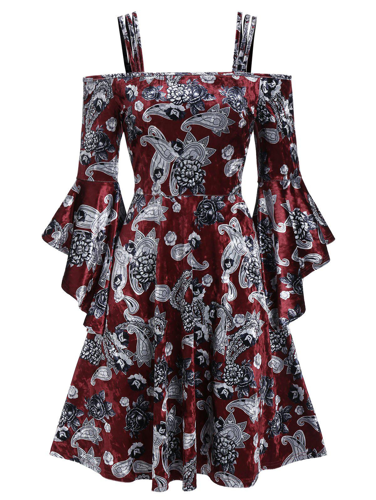 Open Shoulder Floral Print Spaghetti Strap Dress - RED WINE M