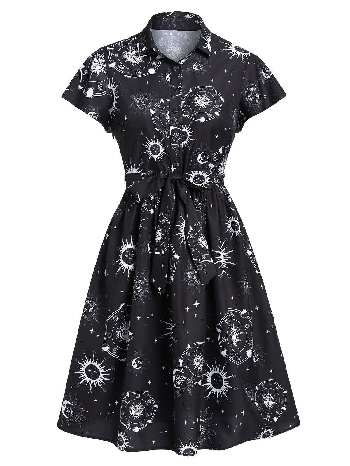 Sun Moon and Star Print Belted Button Dress - WHITE S