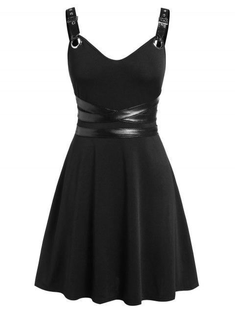 Plus Size Fit And Flare High Waist Solid Vintage Dress - BLACK 2X