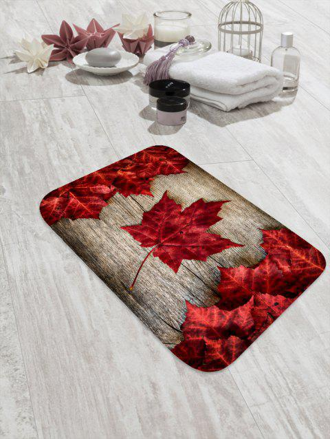 Maple Leaf Wood Printed Floor Mat - RED WINE W16 X L24 INCH