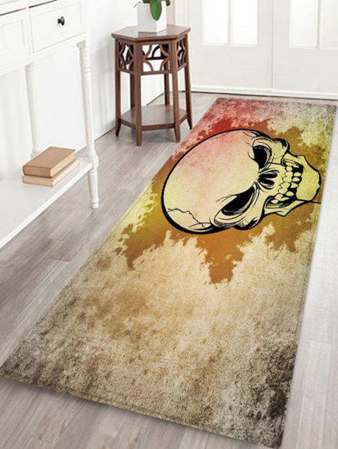 Halloween Skull Pattern Printed Floor Mat - COOL WHITE W16 X L47 INCH