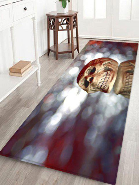 3D Halloween Skull Pattern Printed Floor Mat - COOL WHITE W16 X L47 INCH