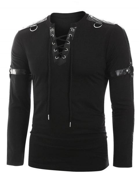 Harness Insert Long Sleeve Lace-up T-shirt - BLACK 2XL