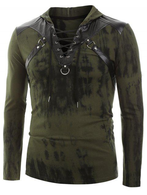 Tie Dye Print Lace-up Faux Leather Insert Hoodie - ARMY GREEN L