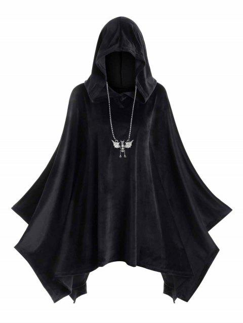 Hooded Velvet Plus Size Poncho - BLACK 2X