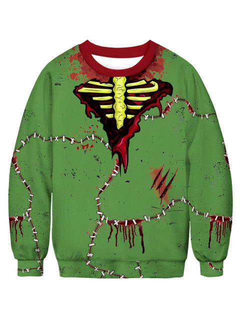 Bloodstain Stitching Printed Long Sleeves Sweatshirt - CLOVER GREEN 2XL