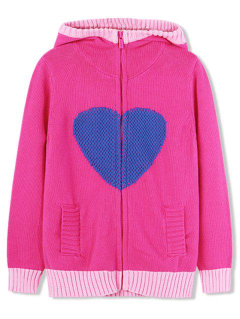 Girls Heart Graphic Zip Up Knitted Cardigan - HOT PINK 120