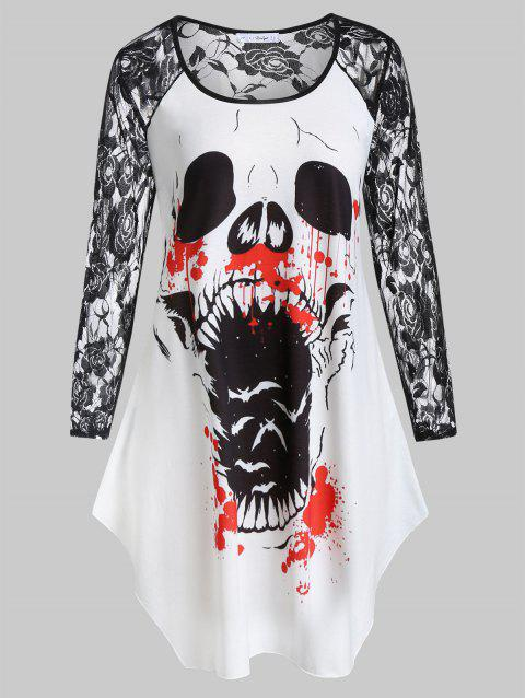 Plus Size Lace Sleeve Printed Halloween T-shirt - WHITE 3X