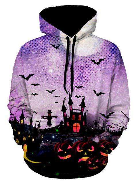 Halloween Pumpkin Bat Print Long Sleeves Hoodie - multicolor A 2XL
