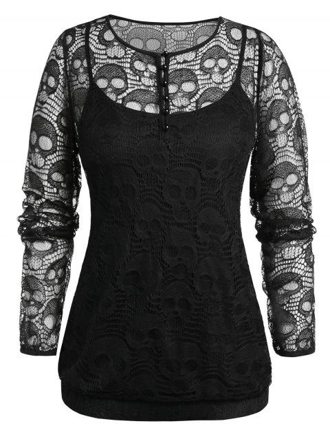 Plus Size Halloween Skull Lace Blouse And Cami Top Set - JET BLACK 3X