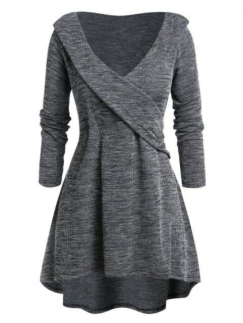 Plus Size Tunic High Low Plunging Neck Sweater - CARBON GRAY L