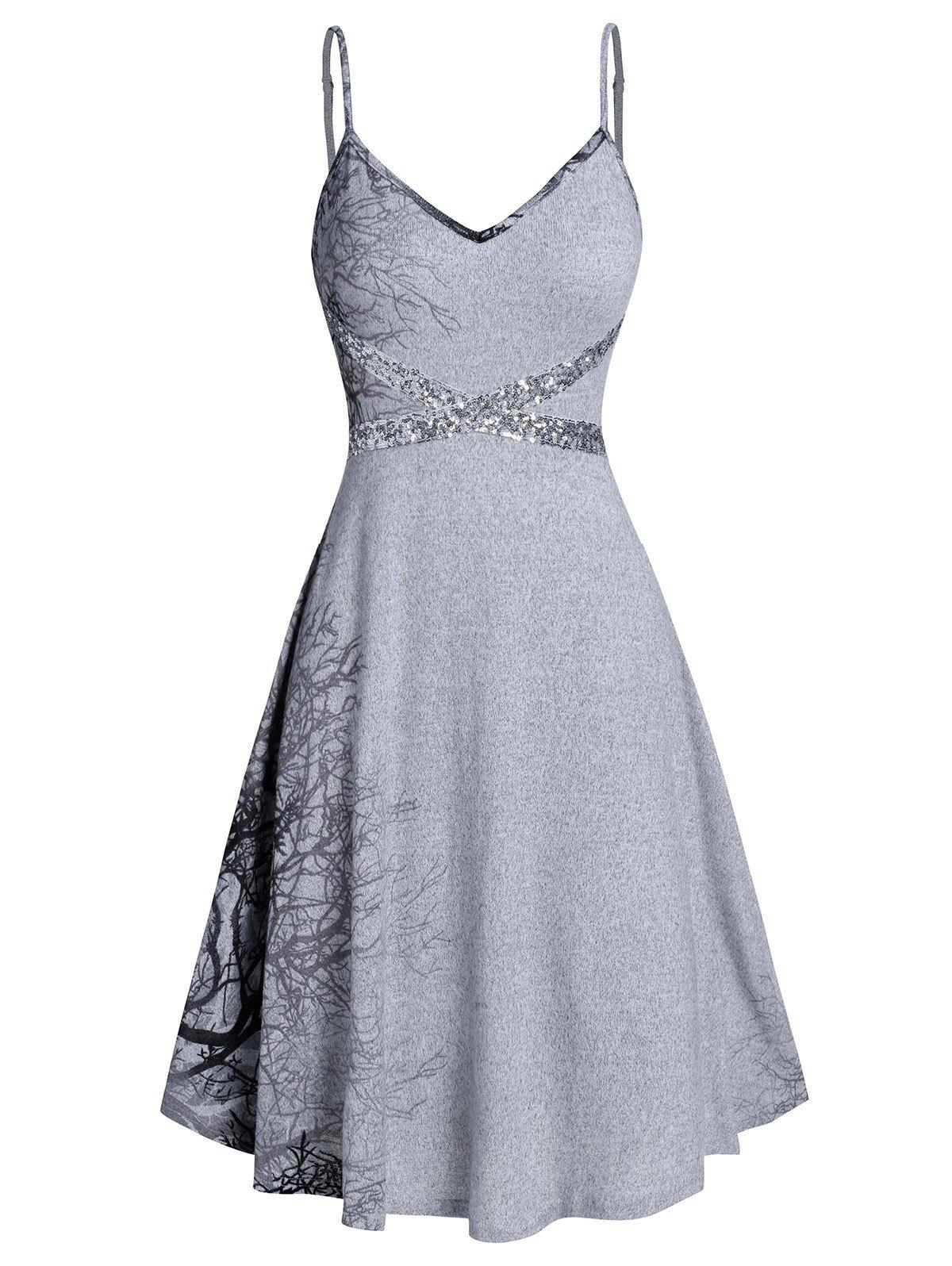 Cami Printed Sequined Mini Dress - GRAY CLOUD M
