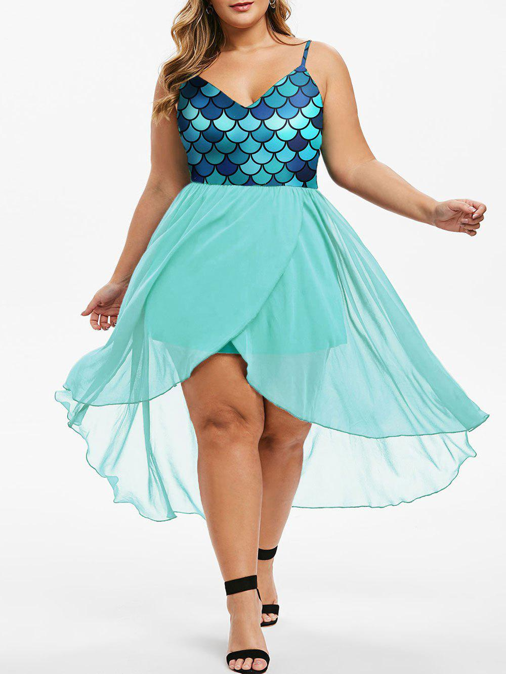 Mermaid Scales Overlap High Low Plus Size Dress - GREEN 5X