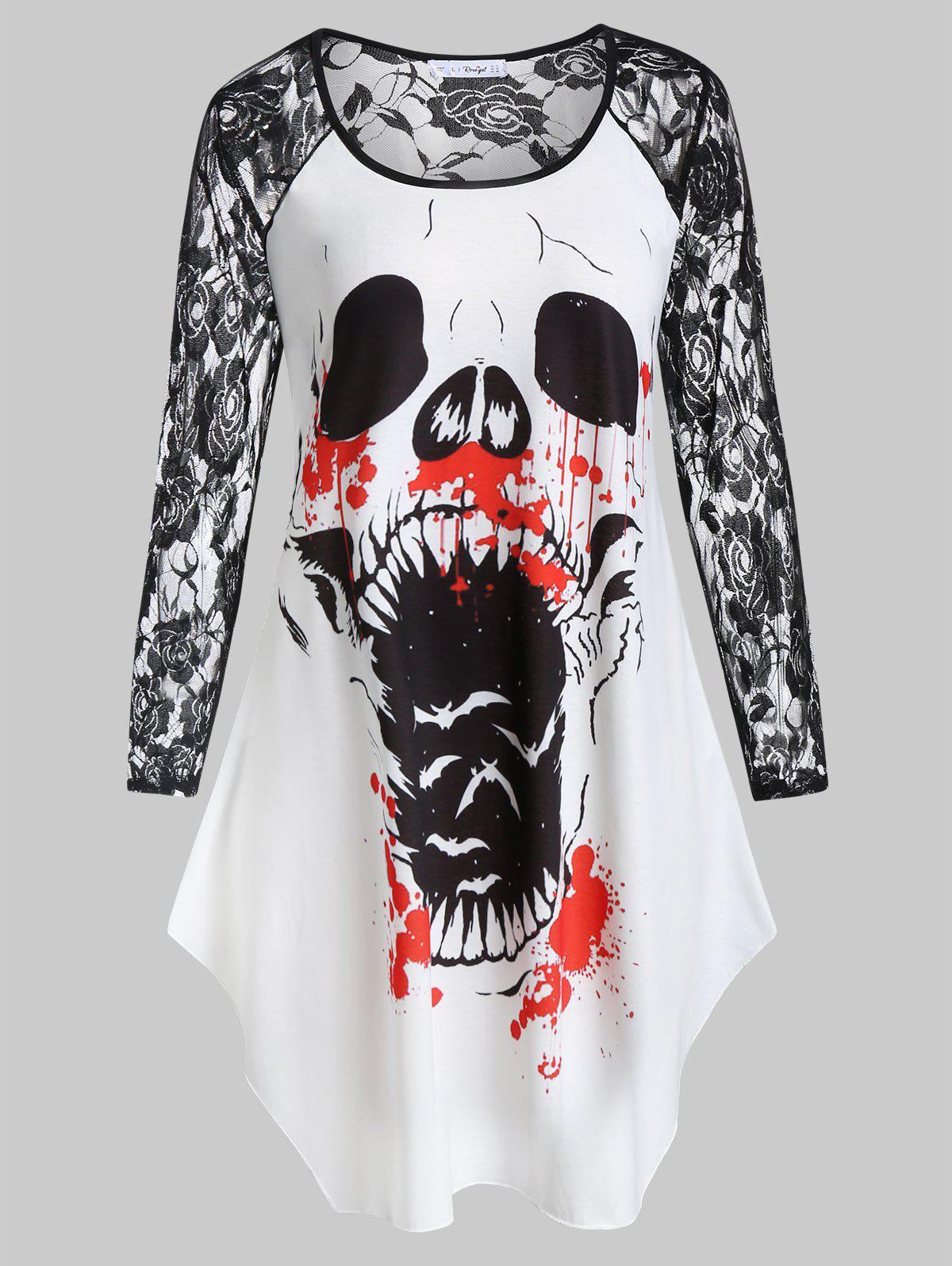 Plus Size Lace Sleeve Printed Halloween T-shirt