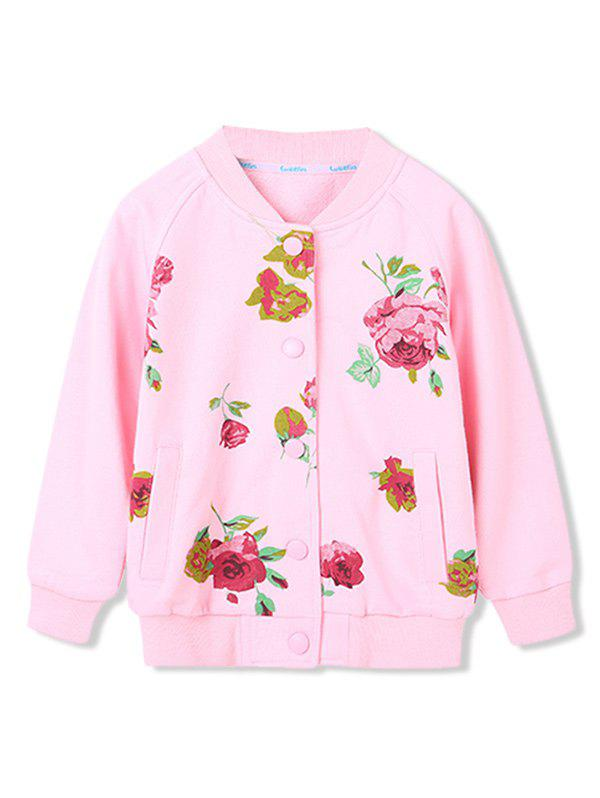Girls Floral Print Button Up Raglan Sleeve Jacket