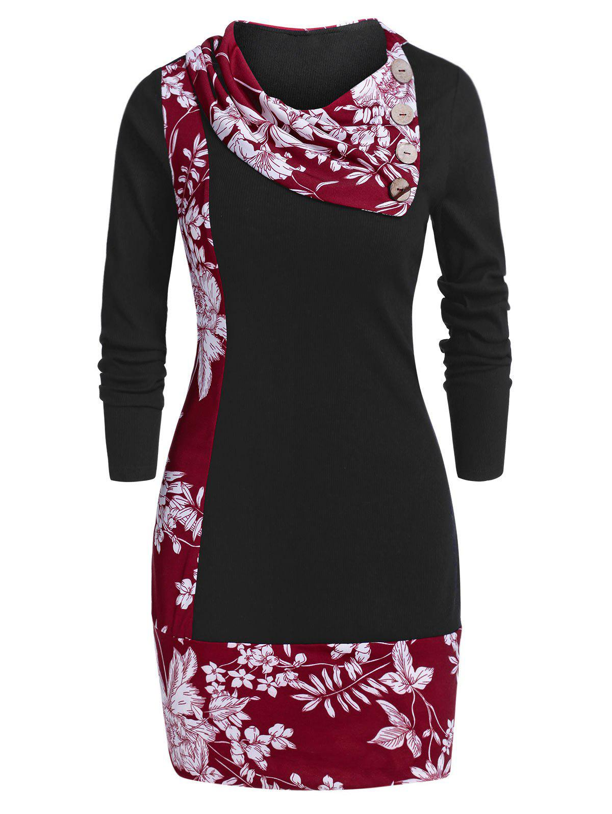 Floral Print Tunic Cowl Collar T Shirt - RED WINE L
