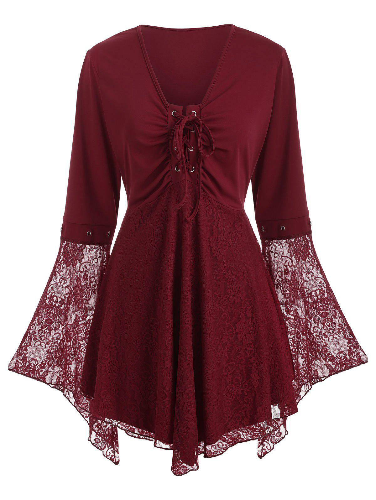 Plus Size Lace Up Lace Insert Flare Sleeve Top - RED WINE L
