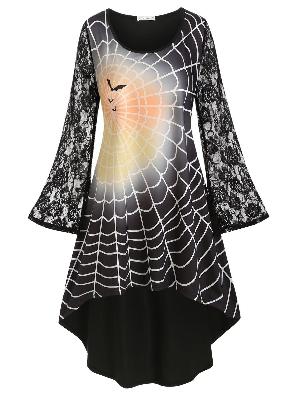 Plus Size Halloween Lace Sleeve Spider Web Print Dress - BLACK 1X