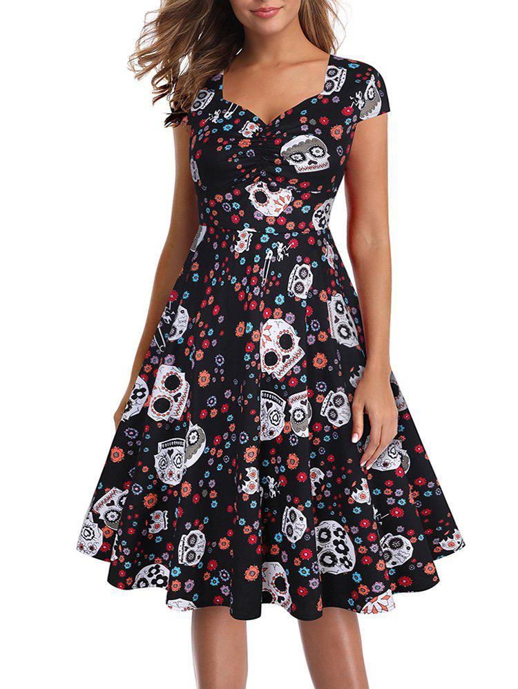 Halloween Skull Floral Sweetheart Cap Sleeve Dress - multicolor 3XL