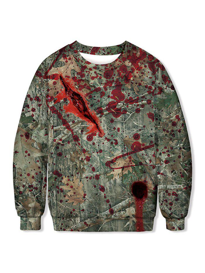 Vintage Bloodstain Leaf Print Halloween Sweatshirt - SEA TURTLE GREEN M