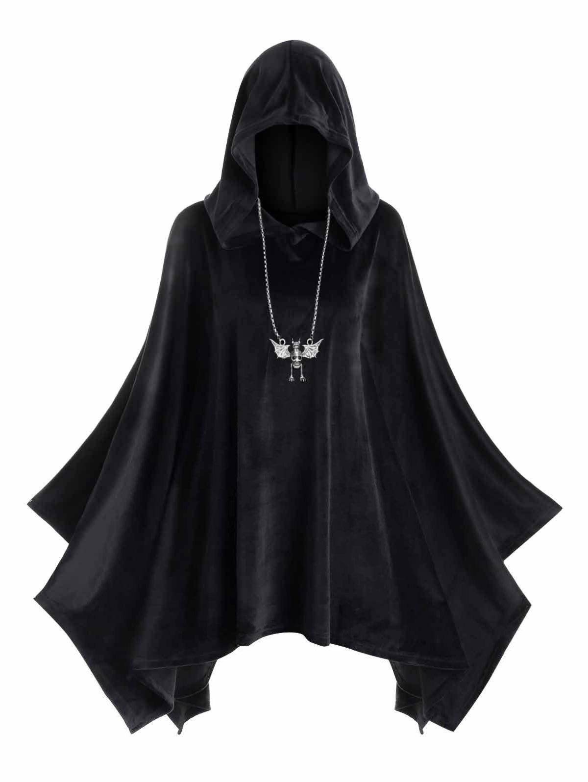 Hooded Velvet Plus Size Poncho