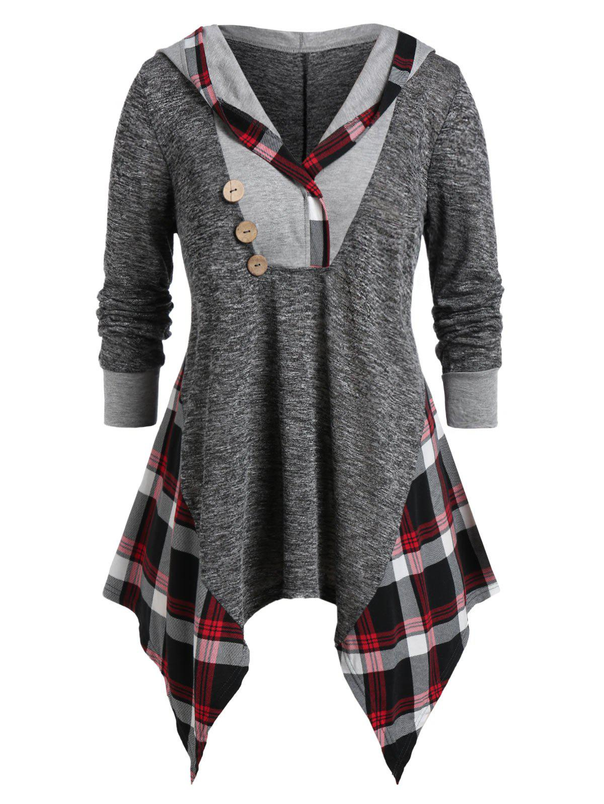 Plus Size Plaid Hood