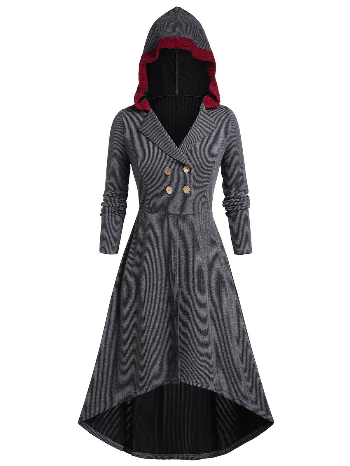 Plus Size High Low Hooded Button Coat