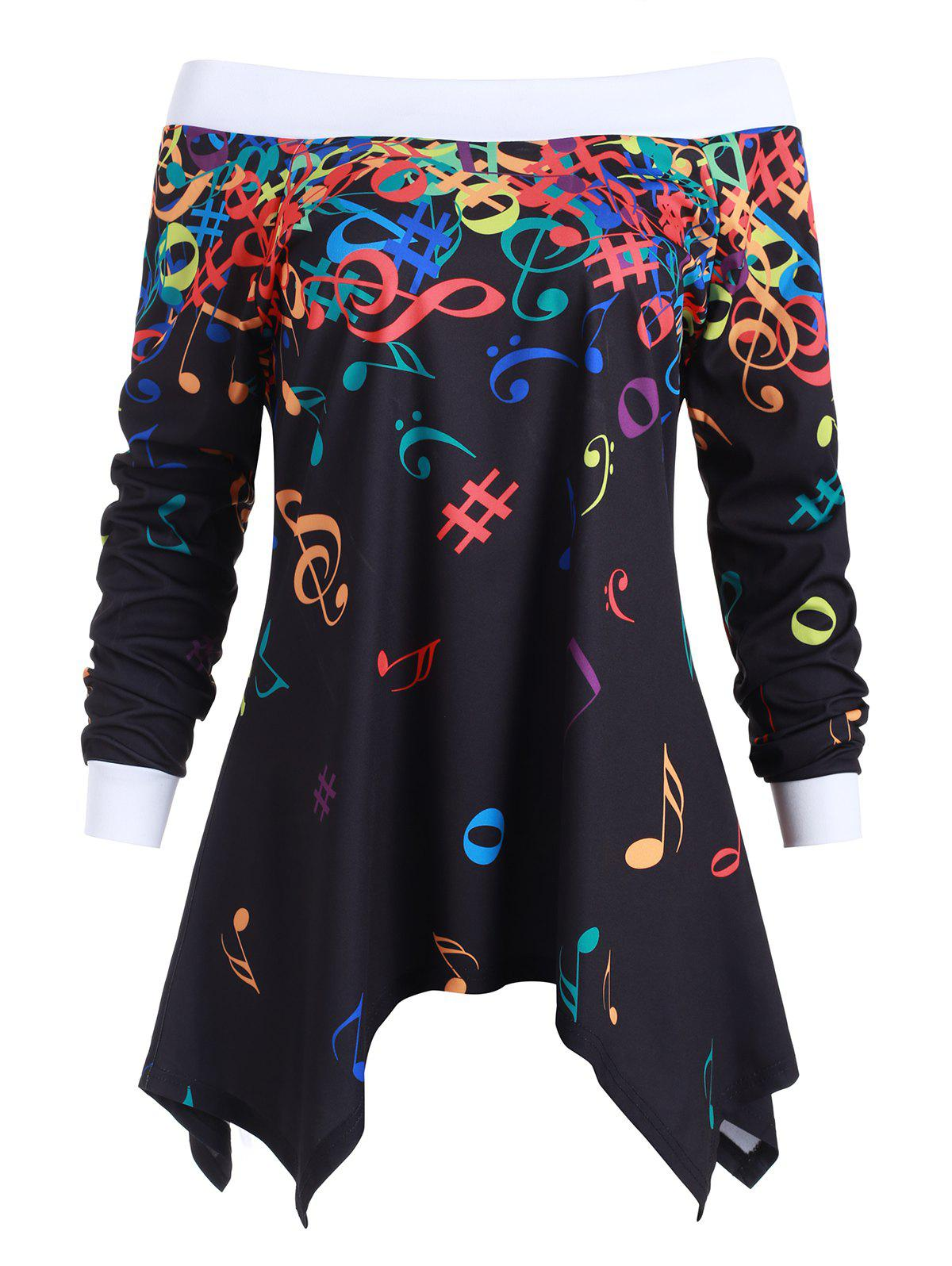 Off Shoulder Musical Note Asymmetric Sweatshirt